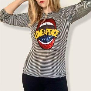 Melissa Masse Love and Peace striped shirt